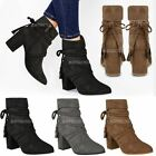 New Womens Ladies Ankle Boots Low Mid Block Heel Chelsea Tassel Strappy Size