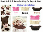 Knitted Hat Dual Ball Knit Fashionable Childrens Girls/Boys 1 - 6 Years Old