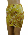 Gold Mini Skirt Short Lycra Bodycon Club Party Holiday Stretch Womens Sexy S147