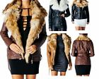 Ladies Womens Faux Fur Collar PU Leather Bomber Bicker Jacket Coat Top Size 8-14