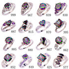 Gift Amethyst Multi Rainbow White Gemstone Silver Ring Size 6 7 8 9 10 11 12 13