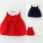2pcs baby girls kids autumn cotton clothing T shirt + Vest dress baby party outf