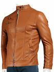 Lambskin Leather Jacket For Men's  Slim Fit Solid Jacket Brown M-32
