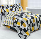 Funky Jazz Geometric Striped Reversible Duvet Quilt Cover Set, Black Grey Yellow