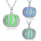 Womens Silver Necklace Hollow Halloween Pendant Luminous Glowing Pumpkin Jewlery