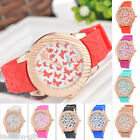 Gift Rose Gold Silicon Bracelet Quartz Watch Lover Unisex Wristwatch