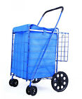 DLUX Large Folding Shopping Cart w/Swivel Wheels, Extra Basket ,Grocery, Laundry