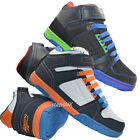BOYS HIGH HI TOP TRAINERS ANKLE COLOUR LACE UP BOOTS BASEBALL SKATE DANCE SHOES