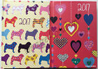 2017 Diary Pocket Size Week to view Dogs or Heart design Hardback diary