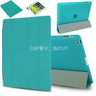 Apple iPad 2,3,4 Smart Leather Case With Clear Crystal Stand Folding Folio Cover