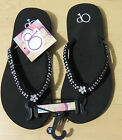 OP Ocean Pacific Girls Black Flip Flops Sandals, S (12) M (13-1) L (2-3) XL (4-5