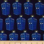 DR WHO POLICE PHONE BOX TARDIS LICENSED CRAFT QUILT SEWING FABRIC Free Oz Post