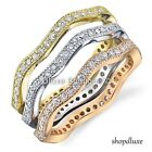 WOMEN'S ROUND CZ STACKING TRI-COLOR STERLING SILVER ETERNITY WEDDING BAND RINGS