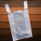 "White Plastic Vest Carrier Bags Take Away Supermarket Style 10"" x 15"" x 18"