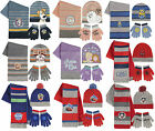 Boys Girls Kids Official Various Character Winter Hat, Gloves And Scarf Sets