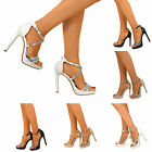 New Ladies Womens Slim Platform High Stiletto Heel Strappy Party Sandal Shoes