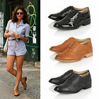 Womens Ladies Girls School Brogue Lace Work Vintage Oxford Flat Shoes Pumps Size