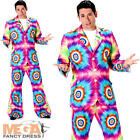 Tie Dye Suit Mens Fancy Dress Hippy 60s 70s Adults Hippie Groovy Costume Outfit