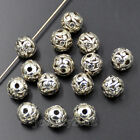 Tibetan Silver Carved Hollow Connector Round Spacer Charm Beads 8mm 10mm 12mm