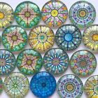 10-16mm Round Photo Glass Flatback Cabochon Mixed Pattern Cameo DIY Jewelries