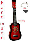 Kids Hand Made Wooden Acoustic Guitar with Metal Strings For Children Toy