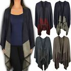 New Womens Ladies Kimono Waterfall Cardigan Shrug Wrap Winter Warm Pashmina Size