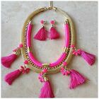 HOT PINK or MINT TASSEL STATEMENT NECKLACE GOLD CRYSTAL w/ Free Earrings!!