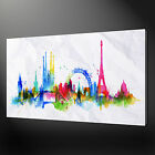 PARIS WATERCOLOUR CANVAS PRINT PICTURE WALL ART VARIETY OF SIZES
