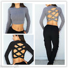 Gift New Fashion Cross Back High Waist Crop Top Knitting Long Sleeve