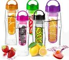 Tritan Plastic BPA Free Fruit Infuser Water Bottle Curve Style with Round Hander