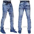 Mens slim distressed biker g jeans, urban skinny star denim beached pants hip