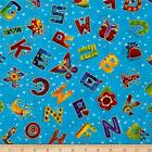 LAUREL LAND ALPHABET A-Z BLUE GILDED QUILT SEWING CRAFT FABRIC Free Oz Post