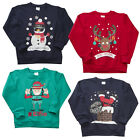 Girls Boys Xmas Elfie Snowman Rudolph Christmas Sweater Top 7 to 13 Years