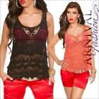 NEW SEXY SLEEVELESS lacy TOP XS S M L XL LACE CROCHET TOPS for girls summer wear