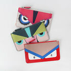 Monster Face Jewel Eyes Tory Zip Round Slim Thin Clutch / Wallet / Bag Organizer