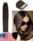Seamless Tape in Weft Remy Human Hair Extensions Dark Brown 16-22Inch USA Stock
