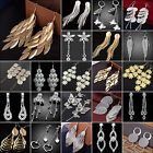 N Luxury Women Crystal Dangle Tassel Leaves Ear Stud 925 Silver Earrings Jewelry