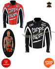 Black and red leather jacket biker jacket torque movie style leather jacket