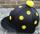 Riding Hat Silk Skull cap Cover BLACK * MINI YELLOW SMILEYS * With OR w/o Pompom