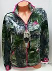 NEW WOMENS MOSSY OAK CAMO PINK ACCENTS MICRO FLEECE FULL ZIP JACKET~S~M~L~XL~2XL