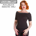 Hell Bunny Black and White Chloe Top - 1950s Vintage Pinup Retro Rockabilly Goth