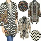 Womens Ladies Long Cardigan Winter Top Warm Thick Knit Printed Blouse Coat Size