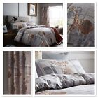 Catherine Lansfield Grey Heritage Stag Tartan Cotton Rich Reversible Duvet Set