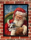 Retro Printed FATHER CHRISTMAS A4 Gloss Poster or Greeting Card Personalise opt
