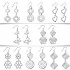 1 Pair Vogue Silver Plated Double Flowers Pendant Earrings Studs Multi Styles