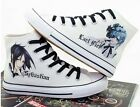 Black Butler Sebastian Ciel Anime Hand-printed lace up Canvas Snakers shoes
