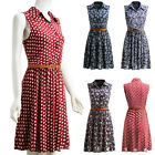Fashion Women Summer Sleeveless Printed Jumper Midi Party Dress Casual M-XL