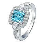 Women Crystal Ring 925 Silver Plated Fashion Jewelry 5 Size 6-10 NF