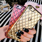 Ultra Thin Crystal Quilted Plating Rubber Case Cover For iPhone 6S 4.7 7 Plus