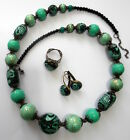 Handmade Stylish Polymer Clay Beaded Emerald Green Necklace Earrings Ring Set